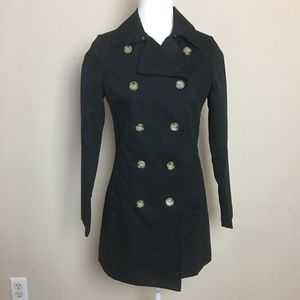 Old Navy Black Cotton Double Breasted Trench Coat
